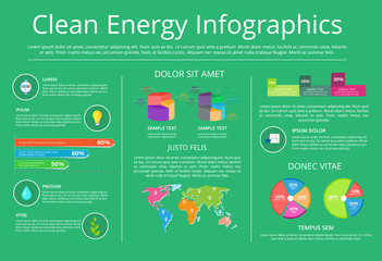 Clean Energy Infographics Vector Illustration