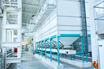 Background image of interior of clean production workshop at modern factory, machine units lining long hall, copy space
