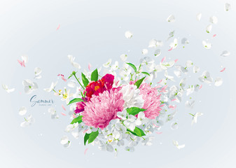 Vector floral bouquet with flying petals