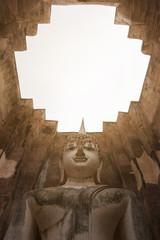 Buddha statue (Phra At Cha Na) in Wat Sri Chum in Sukhothai, Thailand.