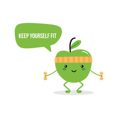 Cute fitness green apple character giving advice to keep yourself fit and active, doing sports.
