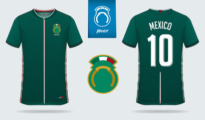 Soccer jersey or football kit template design for Mexico national football team. Front and back view soccer uniform. Football t shirt mock up. Vector Illustration