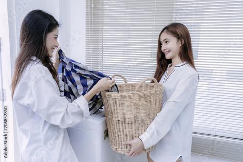 Lesbians sex washing machine