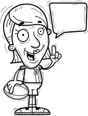 Cartoon Senior Rugby Player Talking