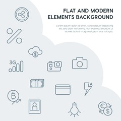 money, mobile, video, photos outline vector icons and elements background concept on grey background.Multipurpose use on websites, presentations, brochures and more