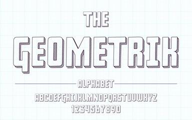 Latin alphabet. Geometric font in cute sketch 3d style.