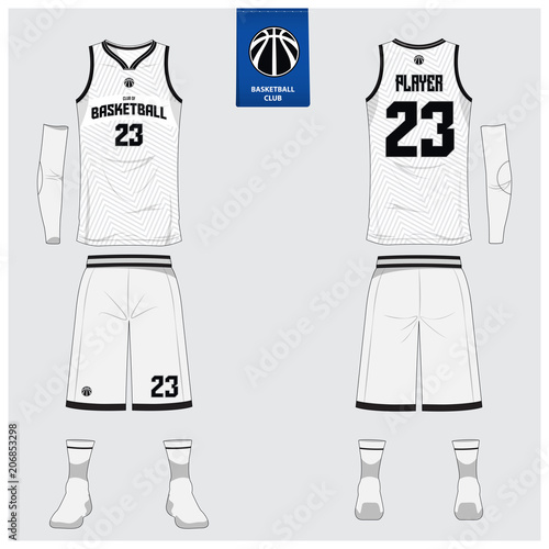 8abaa079342b Basketball jersey or sport uniform template design for basketball club.  Front and back view sport t-shirt design. Tank top t-shirt mock up with  basketball ...