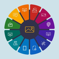 files, email, education Infographic Circle outline Icons Set. Contains such Icons as  stamp, letter,  geography,  planet,  house, technology,  envelope, dna and more. Fully Editable. Pixel Perfect
