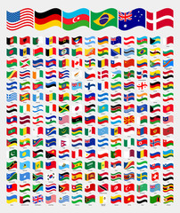 All waved around the world flags with names collection, set, vector illustration simple modern flags, country symbols shape