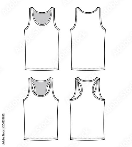 Tanktop Fashion Flat Technical Drawing Template Stock Image And