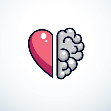 Heart and Brain concept, conflict between emotions and rational thinking, teamwork and balance between soul and intelligence. Vector logo or icon design.