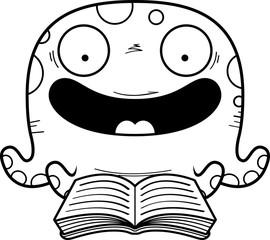 Cartoon Octopus Reading