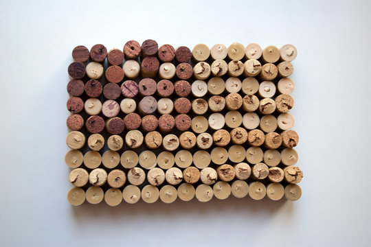 Wine corks flag of the USA abstract composition isolated on  white background from a high angle view