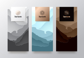 Vector set packaging templates with abstract texture for luxury products.logo design with trendy linear style.vector illustration
