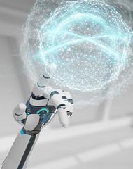 White humanoid hand using digital global network 3D rendering