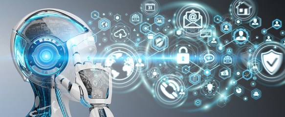 White woman robot using cyber security data interface 3D rendering