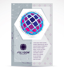 Computer technologies creative advertisement brochure. 3D engineering vector, colorful abstract polygonal shape.