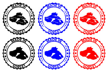 Made in Lesbos - rubber stamp - vector, Lesbos island map pattern - black, blue and red
