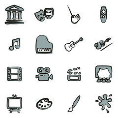 Art & Art Equipment Icons Freehand 2 Color