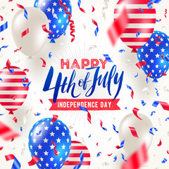 4th of July, Independence day - greeting card design. USA patriotic colors balloons and confetti. Vector illustration.