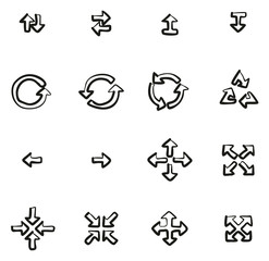 Arrows or Navigation Pointers Icons Freehand