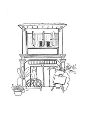Cambodian house with restaurant handdrawn sketch. European colonial architecture. Black white travel sketch.