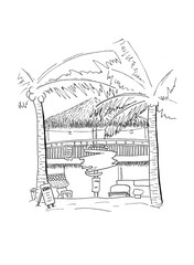 Wooden hut with driftwood handdrawn sketch. Tropical island house architecture. Black white travel sketch.
