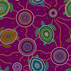 Australian Aboriginal Art. Sea turtles and jellyfish. Seamless pattern. Purple background