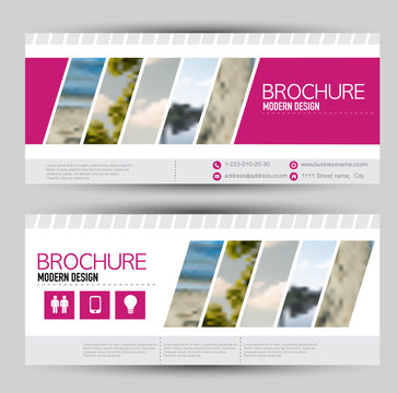 Set of banners for web advertisement or site headers. Print out promotion template. Horizontal flyer handout design. Pink color. Vector illustration.