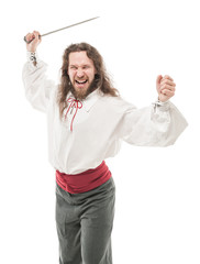 Handsome screaming man in historical pirate costume with blade