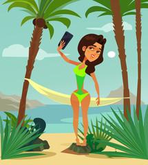 Beautiful woman character in bikini swimsuit sunbathing resting relaxing on beach coast ocean seaboard seaside shore and taking photo selfie