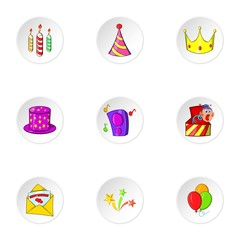Birthday party icons set. Cartoon illustration of 9 birthday party vector icons for web