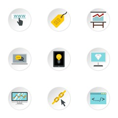 Promotion icons set. Flat illustration of 9 promotion vector icons for web