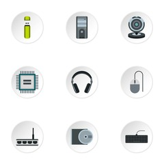 Computer icons set. Flat illustration of 9 computer vector icons for web