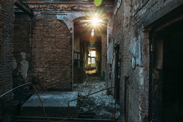 Burned and ruined house interior after fire, consequences of fire disaster accident
