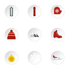 Season winter icons set. Flat illustration of 9 season winter vector icons for web
