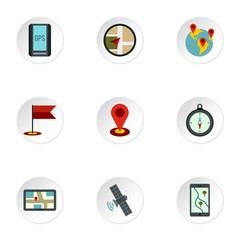 Search territory icons set. Flat illustration of 9 search territory vector icons for web