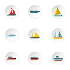 Maritime transport icons set. Flat illustration of 9 maritime transport vector icons for web