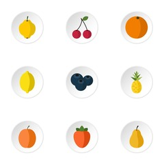 Types of fruit icons set. Flat illustration of 9 types of fruit vector icons for web