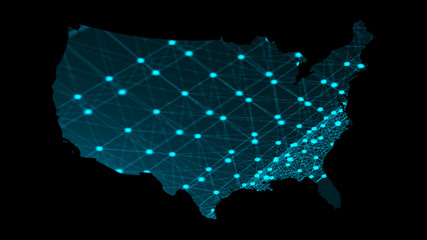 USA map with many network connections, 3d rendering computer generated background
