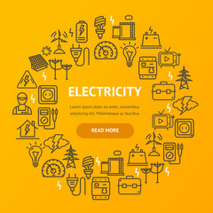 Electricity Signs Round Design Template Thin Line Icon Concept. Vector