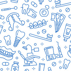 Dentist, orthodontics seamless pattern with line icons. Dental care, medical equipment, braces, tooth prosthesis, floss, caries treatment, toothpaste. Health care blue background for dentistry clinic.