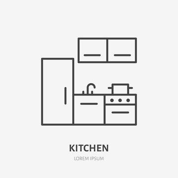 Kitchen flat line icon. Apartment furniture sign, vector illustration of fridge, stove. Thin linear logo for interior store.