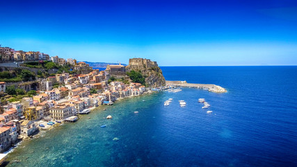 Chianalea homes in Scilla. Aerial view of Calabria, Italy Wall mural