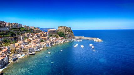 Chianalea homes in Scilla. Aerial view of Calabria, Italy Fototapete