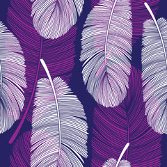 Seamless Overlapping Feathers Pattern