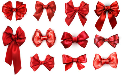 Red realistic satin bows isolated on white.