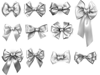 Silver realistic satin bows isolated on white.