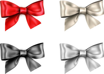 Colorful realistic satin bows isolated on white.