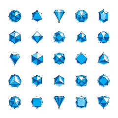 Vector precious decorative elements, polygonal. Set of vector dimensional wireframe low poly objects. Technology 3d mesh elements collection.